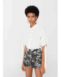 Mango | Gray Floral Print Shorts | Lyst