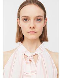 Mango - Pink Flowy Striped Blouse - Lyst