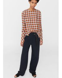 Mango | Brown Check Blouse | Lyst