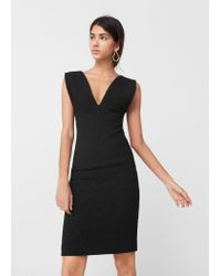 Mango | Black Fitted Textured Dress | Lyst