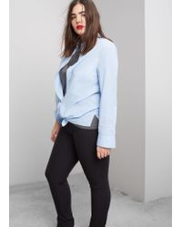 Violeta by Mango | Black Slim-fit Cotton Trousers | Lyst
