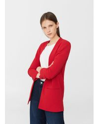 Mango | Red Ruched Sleeves Blazer | Lyst