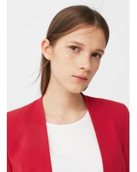 Mango - Red Ruched Sleeves Blazer - Lyst