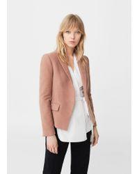 Mango | Pink Structured Cotton Blazer | Lyst
