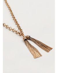 Violeta by Mango - Metallic Metal Tassel Necklace - Lyst
