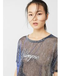 Mango | Blue Metallic Thread T-shirt | Lyst