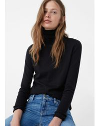 Mango | Black Ribbed Cotton-blend Sweater | Lyst
