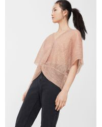 Mango - Pink Metallic Pleated Shirt - Lyst