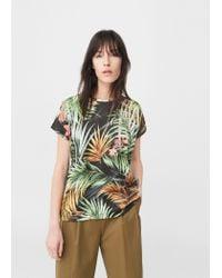 Mango   Black Printed T-shirt   Lyst