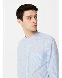 Mango | Blue Slim-fit Mao Collar Shirt for Men | Lyst