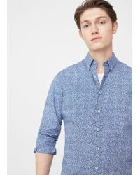 Mango | Blue Slim-fit Printed Cotton Shirt for Men | Lyst