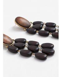 Mango - Brown Beaded Pendant Earrings - Lyst