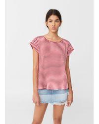 Mango | Red Striped Cotton T-shirt | Lyst