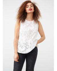 Violeta by Mango | White Openwork Cotton Blouse | Lyst