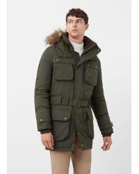 Mango | Green Faux-fur Feather Down Long Coat for Men | Lyst