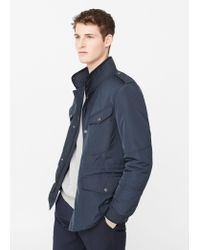 Mango | Blue Quilted Field Jacket for Men | Lyst