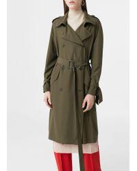 Mango | Green Cotton-blend Trench Coat | Lyst