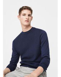 Mango - Blue Textured Cotton Sweater for Men - Lyst