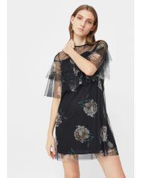 Mango   Black Floral Tulle Dress   Lyst