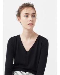 Mango | Black Openwork Ribbed Sweater | Lyst