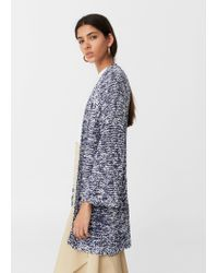 Mango | Blue Bicolor Cotton Cardigan | Lyst