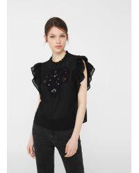 Mango | Black Beads Cotton Blouse | Lyst