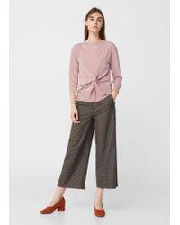 Mango - Pink Knot Detail T-shirt - Lyst