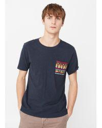 Mango | Blue Contrast Chest-pocket T-shirt for Men | Lyst