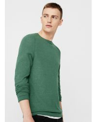 Mango | Green Textured Cotton Sweater for Men | Lyst