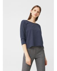 Mango | Blue Cotton T-shirt | Lyst