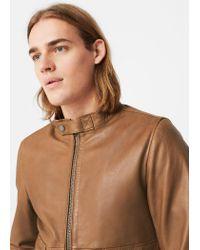 Mango - Brown Leather Biker Jacket for Men - Lyst