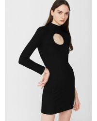 Mango | Black Cut-out Bodycon Dress | Lyst