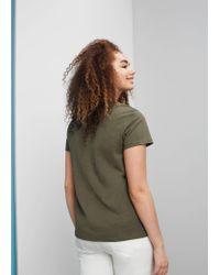 Violeta by Mango | Green Slub-cotton T-shirt | Lyst