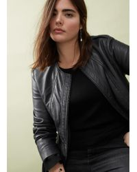 Violeta by Mango | Black Stitched Biker Leather Jacket | Lyst