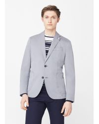 Mango | Gray Slim-fit Unstructured Cotton Blazer | Lyst