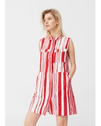 Mango | Red Striped Cotton Dress | Lyst