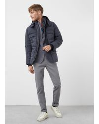 Mango | Gray Feather Down Hooded Coat for Men | Lyst