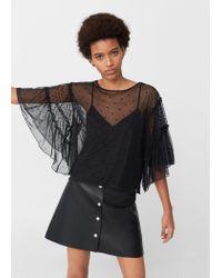Mango | Black Polka Dot Tulle T-shirt | Lyst