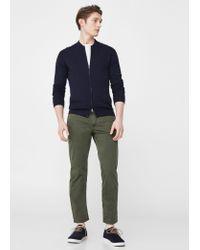 Mango | Blue Zipped Cotton Cardigan for Men | Lyst