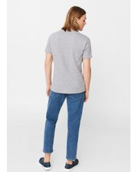 Mango - Gray Flecked Cotton-blend T-shirt - Lyst
