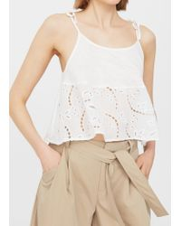 Mango | White Openwork Panel Top | Lyst