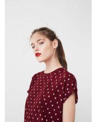 Mango | Red Printed Cotton T-shirt | Lyst