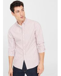 Mango | Pink Slim-fit Bengal Stripe Shirt for Men | Lyst