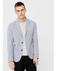 Mango | Blue Slim-fit Cotton-blend Textured Blazer for Men | Lyst