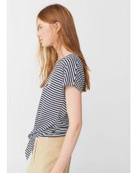 Mango | Blue Knot Detail T-shirt | Lyst