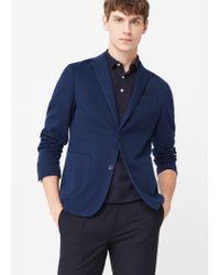 Mango   Blue Unstructured Piqué Blazer for Men   Lyst