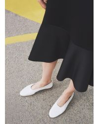 Mango | White Soft Leather Ballerina | Lyst