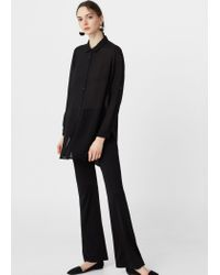 Mango - Black Flowy Shirt - Lyst