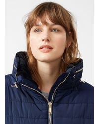 Violeta by Mango - Blue Side-zip Quilted Coat - Lyst