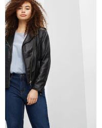 Violeta by Mango | Black Zip-detail Leather Biker Jacket | Lyst